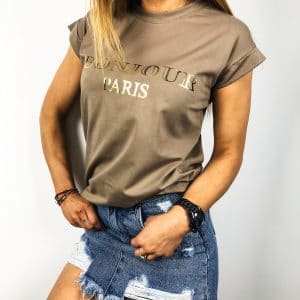 T-shirt BONJOUR Paris Nut-Brown